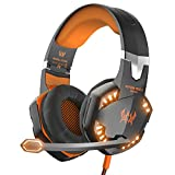 VersionTech G2000 Gaming Headset for PC Computer Games, Professional Stereo Over Ear Headphones with Omnidirectional Microphone, Led Lights & In-Line Volume Control -Orange