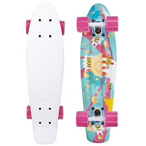 Cal 7 Complete Mini Cruiser Skateboard, 22 Inch Plastic in Retro Design (Popcorn)