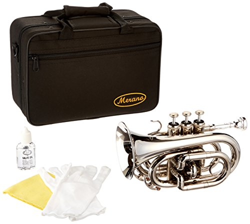 Merano WD480SV-A B Flat Nickel Pocket Trumpet with Case and Mouth Piece, Silver by Merano