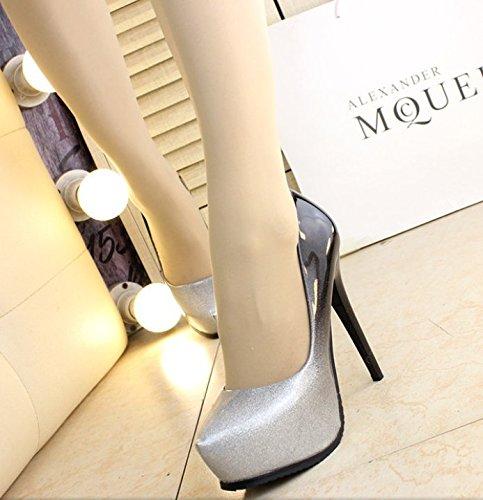 Olici MDRW-Lady Elegant Arbeit Freizeit Feder Sexy Sexy Sexy Scharfe Einzelne Schuhe Silber Konischen Colour Fashion Feine Ferse Wasserdicht Plattform 13 cm High Heels Damen Schuhe f136af
