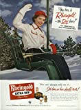 Miss Rheingold Beer Anne Hogan ad 1952 ski chair lift