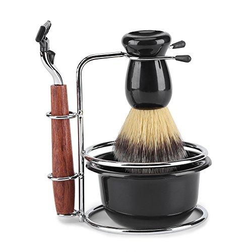 Kit de Afeitado 4-En-1 de Acero Inoxidable Barra de Afeitar Húmeda Maquinilla de Afeitar Soporte Manual Profesional Cepillo...