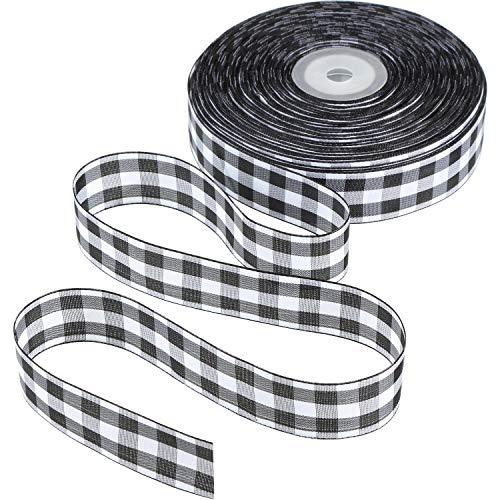 Plaid Christmas Ribbon (Tatuo 50 Yards Gingham Ribbon Wide Ribbon Taffeta Plaid)