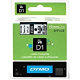 DYMO Standard D1 Self-Adhesive Polyester Tape for Label Makers, 3/4-inch, Black Print on Clear, 23-foot Cartridge (45800) by DYMO