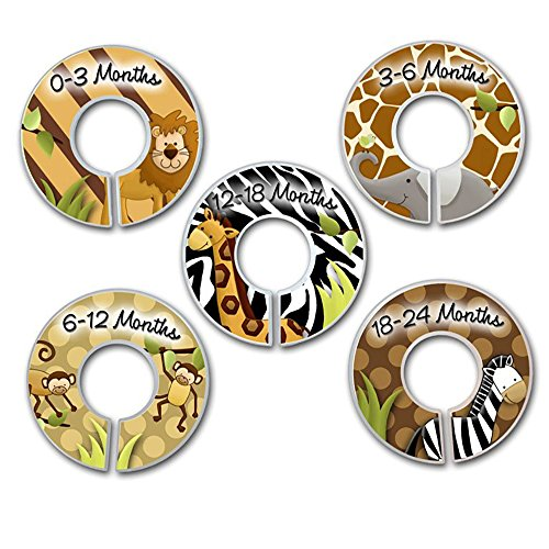 CLOSET DIVIDERS Animal Jungle Print SIZE LABELS Bedroom and Baby Nursery Art Decor CD0031 by Toad and Lily