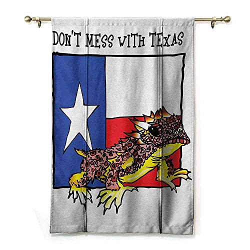 HCCJLCKS Cartoon Roman Curtain Reptile Illustration of Cute Warrior Horned Toad Standing for Texas City American Dream Privacy Protection Multicolor W36 xL72 (Texas Toads Cartoon)
