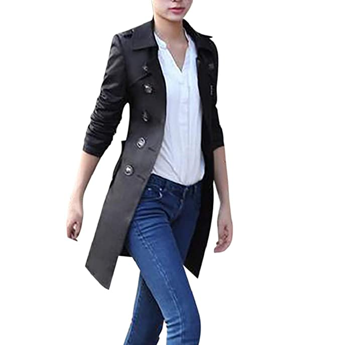 Amazon.com: Photno - Chaqueta larga de lana para mujer ...