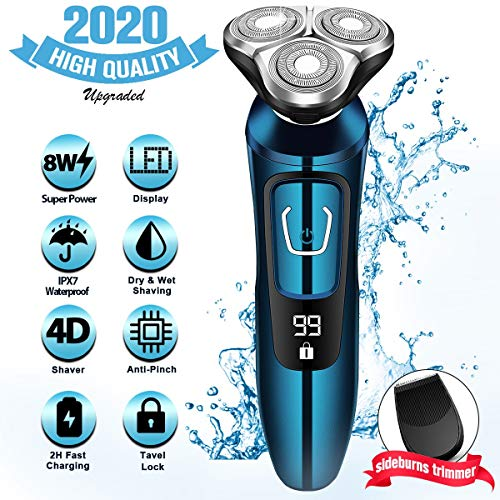 Electric Razor for Men, Mens Electric Shavers, Dry Wet Waterproof Rotary Facial Shaver, Portable Face Shaver Cordless Travel USB Rechargeable with Beard Trimmer LED Display for Shaving Husband Dad