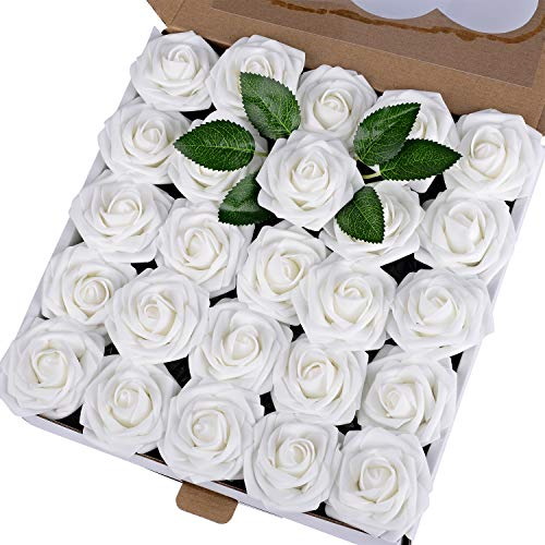 Breeze Talk Artificial Flowers 50pcs White Realistic Fake Roses w/Stem for DIY Wedding Bouquets Centerpieces Arrangements Party Baby Shower Home Decorations (50pcs ()