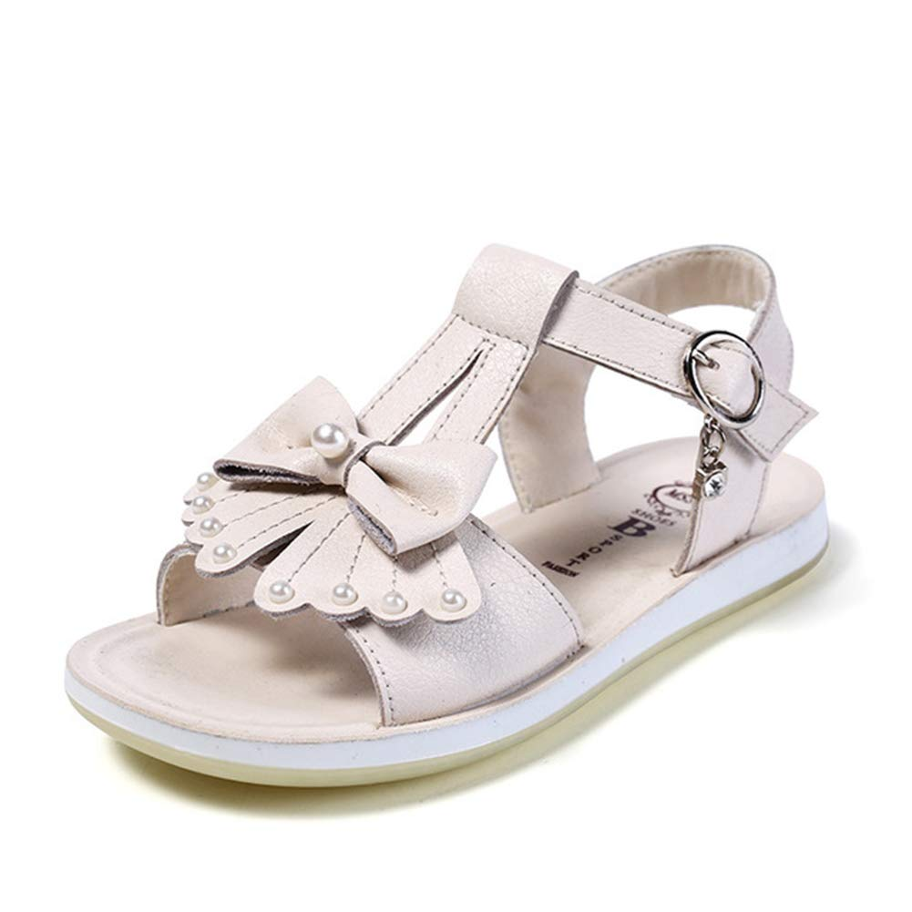 Mobnau Leather Cute Bowknot Pearls Kids Sandals for Girls
