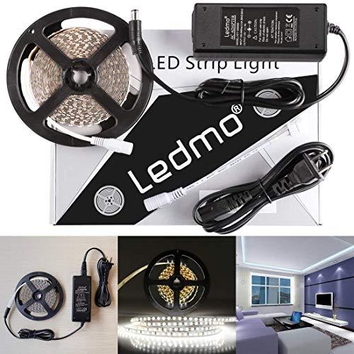 LEDMO LED Strip Lights, SMD2835 White, LED Ribbon, Dimmable, Non-Waterproof, DC12V 600LEDs 16.4 Ft Decoration LED Tape Ribbon, Include Power Supply