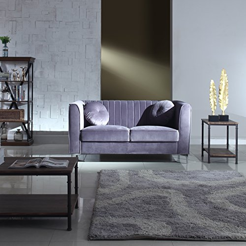 Classic and Traditional Living Room Marilyn Velvet Loveseat with Tufted Accent Pillows (Modern Style Loveseat)