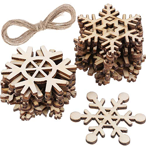 Hestya 50 Pieces Wooden Snowflake for DIY Wood Crafts Christmas Tree Ornaments Hanging Xmas Decorations with Strings