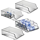 mDesign Wide Plastic Kitchen Water Bottle Storage Organizer Tray Rack - Holder and Dispenser for Refrigerators, Freezers, Cabinets, Pantry, Garage - 4 Pack - Smoke Gray