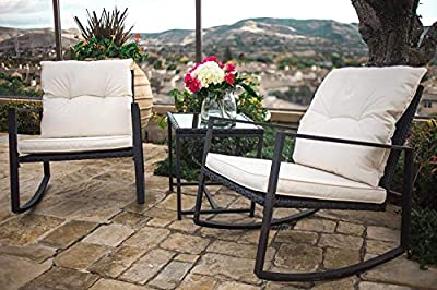 SUNCROWN Outdoor 3-Piece Rocking Wicker Bistro Set: Black/Brown Wicker Furniture - Two Chairs with Glass Coffee Table (Beige-White Cushion)