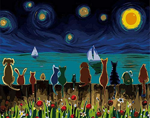 ABEUTY DIY Paint by Numbers for Adults Beginner - Animal Seaside Starry Sky Abstract 16x20 inches Number Painting Anti Stress Toys