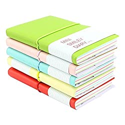 Pshine Memo Charming Portable Mini Smiley Diary Paper Notebook, Leather Shell, 100 Sheets, Color Random, Set of 5