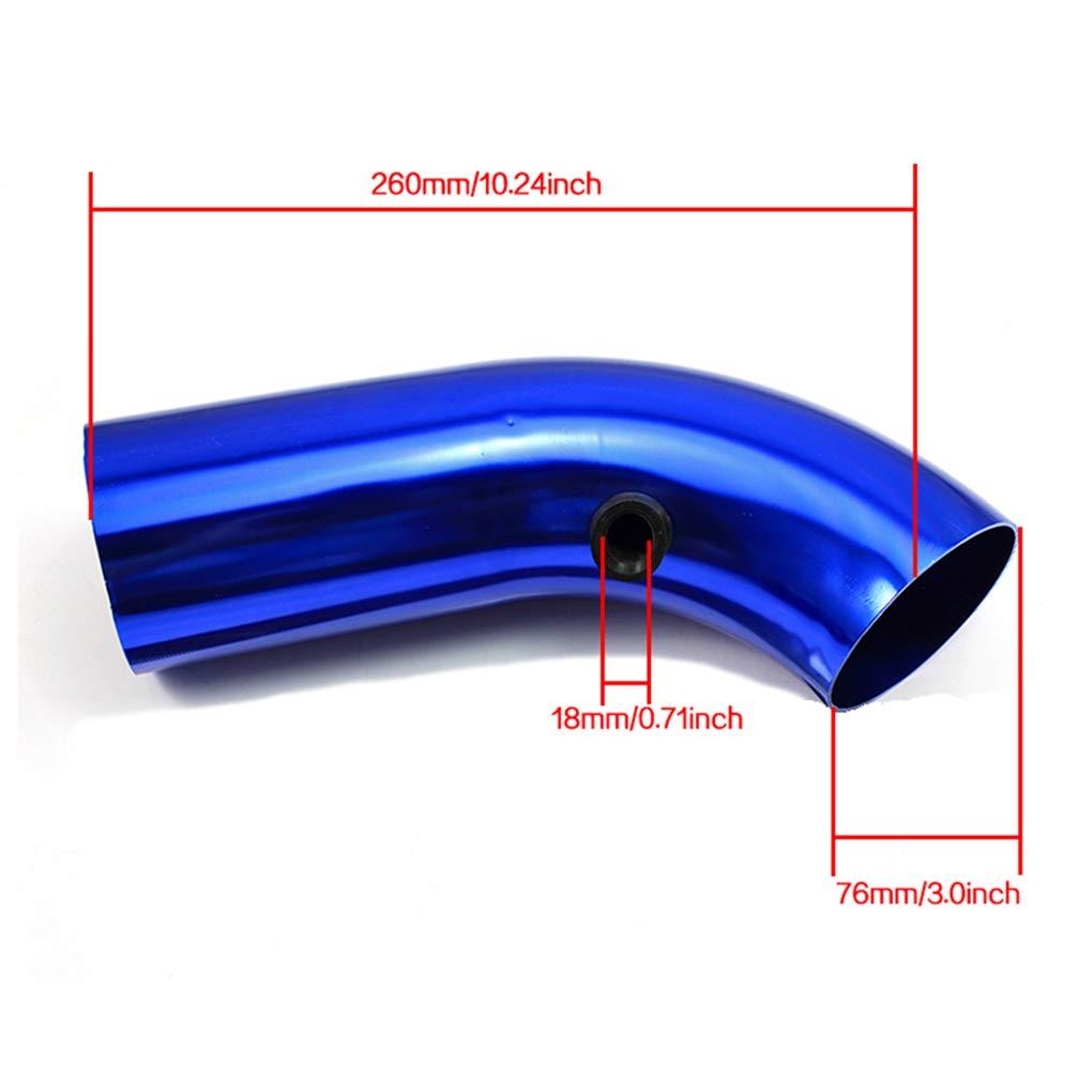75mm Black Aluminum Car Cold Air Intake Filter Pipe Hose Tube Kit Universal Car Accessories Regard