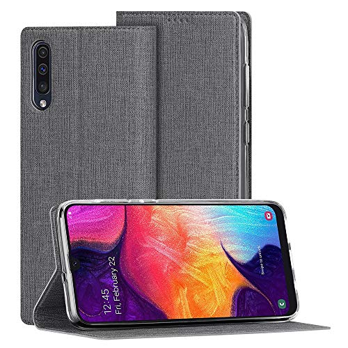 Foluu Galaxy A50 Case, Flip Folio Wallet Cover Slim Premium PU Leather Case ID Credit Card Slots Kickstand and Magnetic Closure Clear TPU Bumper Cover for Samsung Galaxy A50 (Gray) (Slim Pu Leather Design)