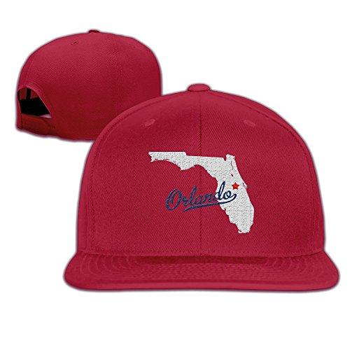 BASEE Map Orlando Florida FL Orlando Shooting Adjustable Flat Along Baseball Cap Red