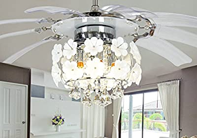 Huston Fan 52 Inch Crystal Invisible Fan Lights Ceiling Chandelier Led Daffodils Bedroom Restaurant Living Room Remote Control Decorative Light