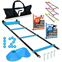 Pro Agility Ladder Cones - 15 ft Fixed-Rung Speed Ladder...