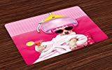 Lunarable Funny Place Mats Set of 4, Chihuahua Dog Relaxing and Lying in Wellness Spa Fashion Puppy Comic Print, Washable Fabric Placemats for Dining Room Kitchen Table Decoration, Magenta Baby Pink