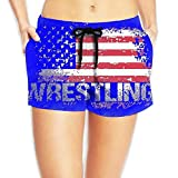 vaepinopes Wrestling American Flag Womens Quickly Drying Beach Waist Elastic Shorts Swim Trunk Boardshorts Swimwear with Pocket