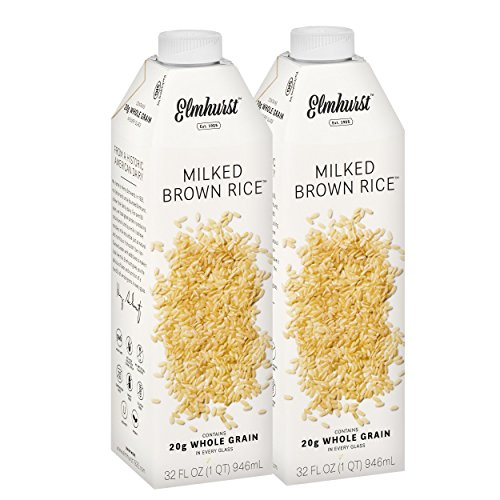Elmhurst Milked - Brown Rice Milk - 32 Fluid Ounces (Pack of 2). Only 5 Ingredients, 20g Whole Grain, Non Dairy, No Added Gums or Emulsifiers, Vegan