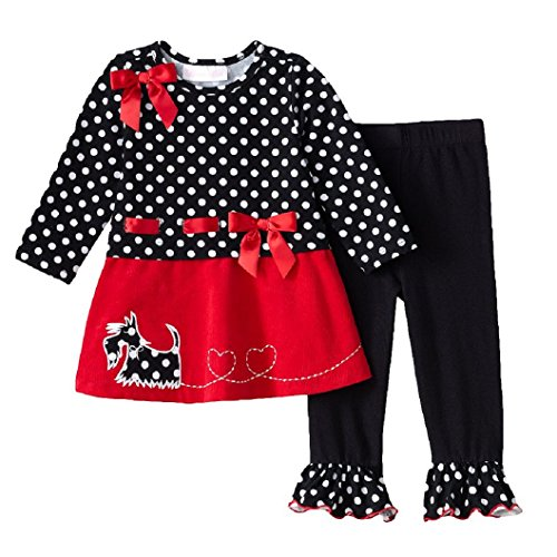 Bonnie Baby Baby-Girls Infant Scottie Dog Corduroy Legging Set, Black/White, 24 Months