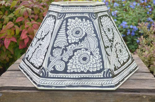 6 Faced Ceiling Lampshade, Hand Painted Pendant Shade, Large Leather Ceiling Lamp shade - 24CM Height & 40CM Width