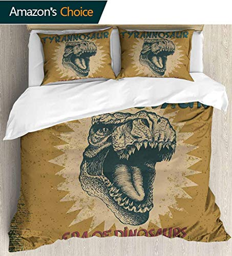 shirlyhome Retro Poster European Style Print Bed Set,Grunge Style Vintage Label with Tyrannosaur Dinosaur Jurassic Fossil Print Bedding Sets,1 Duvet Cover,1 Pillowcase 80