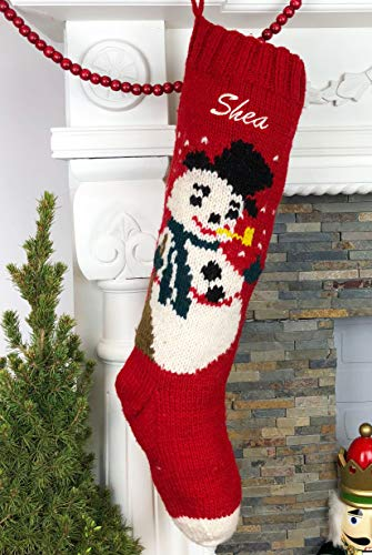 - Christmas Stocking Personalized Hand Knit Frosty Snowman