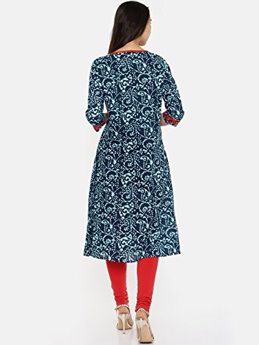 Casual Long Multicoloured Kurta Printed Dress Women's Aaboli Indigo Women Kurti Tunic for Women aBqSHpn