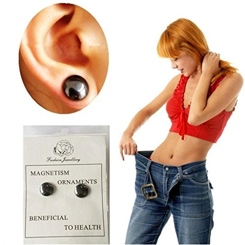 Aigemi 2 Pairs Bio Weight Loss Earrings Stimulating Acupoints Earring Magnetic ()