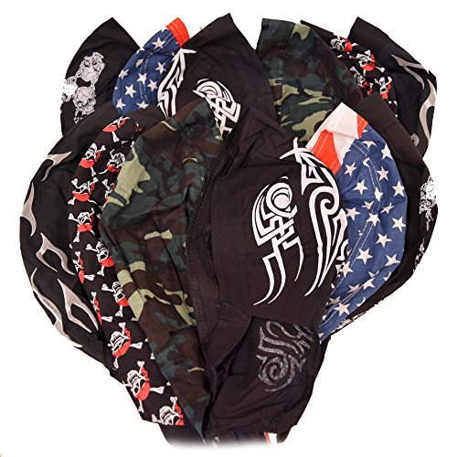 Great Deals! 12 Pack Assorted Biker Skull Caps