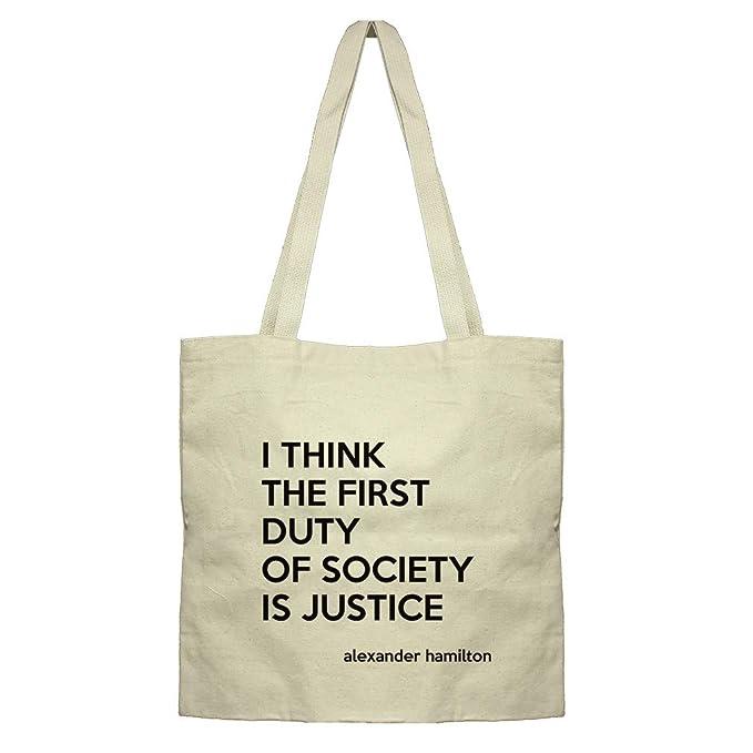3354cf2eb5cb Amazon.com: The Society Is Justice (Alexander Hamilton) Cotton Canvas Flat  Market Tote Bag: Clothing