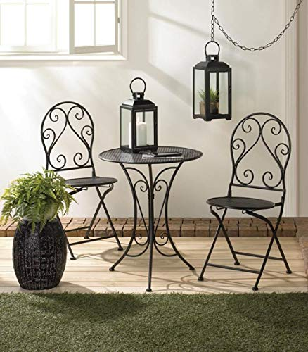 Cafe Table and Chairs Set Chic Wrought Iron Kitchen 3 Piece Round Bistro Table Sets Indoor Outdoor Compact Black Metal Bistro Table 2 Folding Chair Outside Balcony Garden Patio Dining Three Pieces