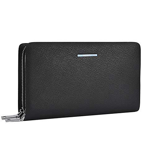 f437f7449c2b BALIDIYA Mens Clutch Purse Wallets Genuine Leather Handbag Organizer Bags  Business card holder(Black Blue)