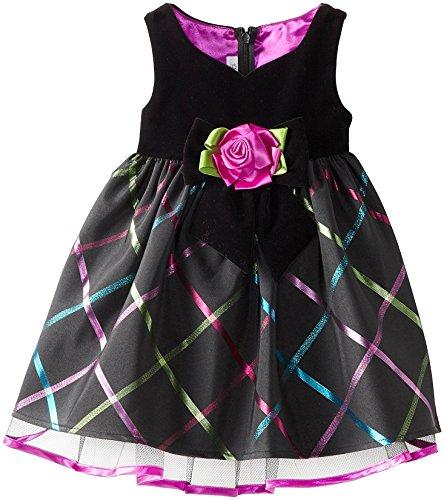 Bonnie Jean Little Girls' Velvet To Plaid Sweetheart Dress, Black, 2T
