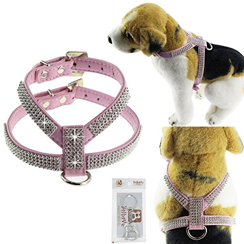 Bolbove Adjustable PU Leather Rhinestones Pet Collar Harness for Cats Puppy Small Dogs Chihuahua Teacup (X-Small, Pink)