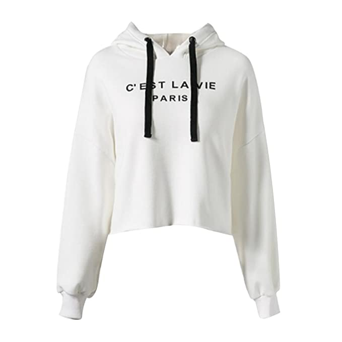 ea95223f49e Tidecc Women Hoodies Sweatshirt Letter Print Hooded Crop Tops Cropped  Jumper Pullovers: Amazon.co.uk: Clothing