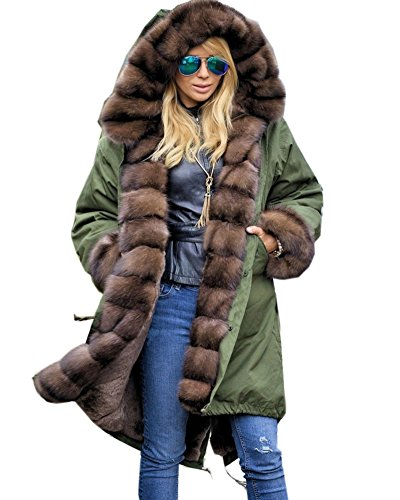 Roiii Winter Women Parka Jacket Coat Peacock Green Shade Luxury Faux Fur Hooded Outwear Overcoat UK Plus Size 8-20 AmryGreen