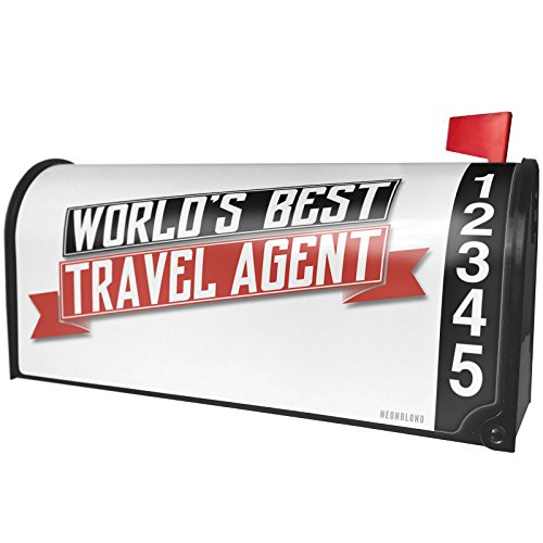 NEONBLOND Worlds Best Travel Agent Magnetic Mailbox Cover Custom Numbers by NEONBLOND