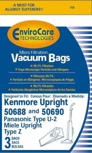EnviroCare Technologies Micro Filtration Vacuum Bags - Designed to fit Kenmore Upright 50688 and 50690, Panasonic Type U-2, and Miele Upright Type Z