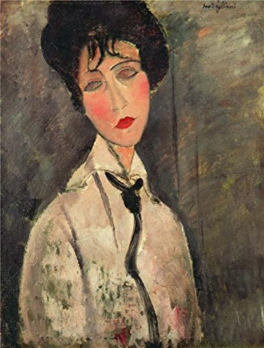 Oil Painting 'Amedeo Modigliani,Woman With A Black Tie,1917', 30 x 40 inch / 76 x 101 cm , on High Definition HD canvas prints is for Gifts And Foyer, Home Office And Nursery Decoration