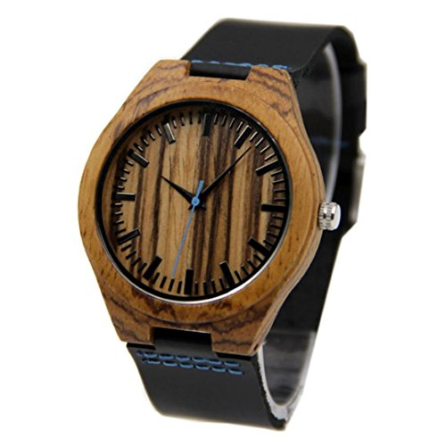 Creazy® New Leather Bamboo Wooden Watch