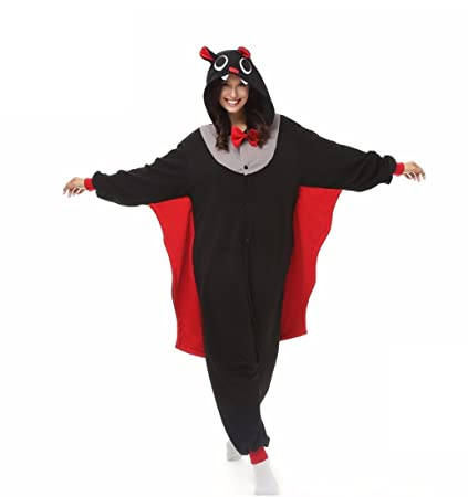 HYY@ Kigurumi Pajamas Bat Leotard/Onesie / Slippers Halloween Animal Sleepwear Black Patchwork Coral