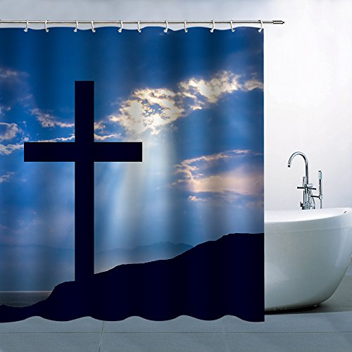 AMFD Christ Cross Shower Curtain Sacred Holy Bathroom Decor Polyester Fabric Waterproof Mildew Resistant Antibacterial 70 X 70 Inches Include Hooks Blue Black by AMFD