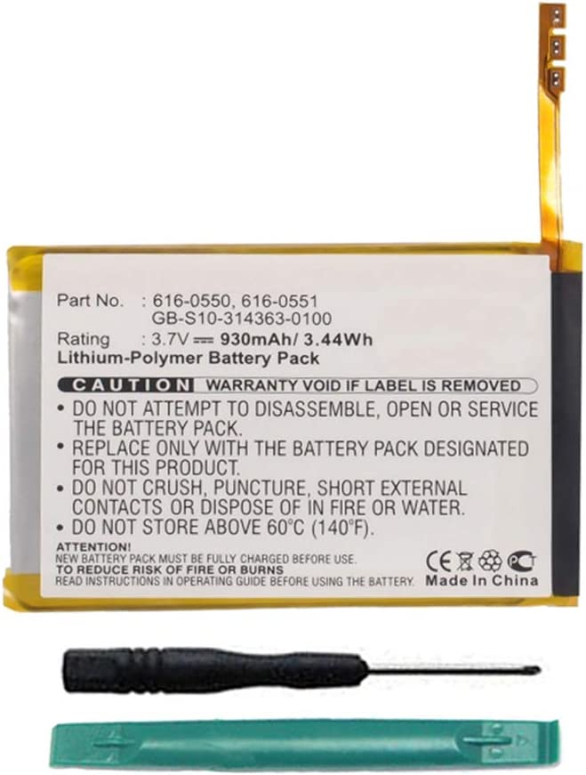 MPF Products 930mAh 616-0550, 616-0551 Battery Replacement Compatible with Apple iPod Touch 4 (4th Generation) A1367 8GB, 16GB, 32GB, 64GB with Installation Tools